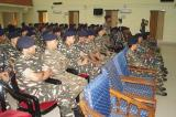 OFFICERS AND MEN WITNESSING THE FELICITATION CEREMONY AT THE AUDIOTORIUM OF GC CRPF, LANGJING.