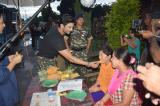 Bollywood actor Sushant Singh Rajput interacting with the locals near Sekmai during the shooting