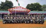 Group photograph of Mahila contingent with Shri L.M. Khaute, IPS DGP, Manipur Police , Shri Vikram Sahgal, IGP, M&N Sector, CRPF and Officers.