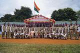 Group photograph of male contingent with Shri L.M.Khaute, IPS, DGP, Manipur Police, Shri Vikram Sahgal, IGP, M&N Sector, CRPF and Officers.