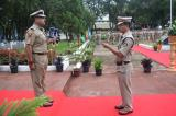 Shri. Vikram Sahgal, IGP. M&N Sector receiving report of parade at quarter guard.